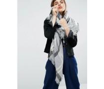 Quadratischer Oversize-Schal mit Hahnentrittmuster Grau