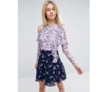 Schulterfreies Minikleid mit Muster und Rüschen Mehrfarbig