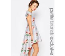 Mini-Ballkleid mit durchgehendem Blumenprint und Hoch-Tief-Saum Mehrfarbig