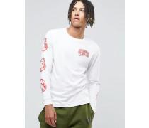 Langärmliges T-Shirt mit Print am Arm Weiß