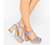 New Look Sandalen in Wildlederoptik mit Absatz und weiter Passform Blau