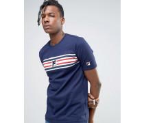 Fila Vintage-T-Shirt mit gestreifter Bahn Marineblau