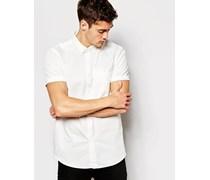 Kurzärmliges Baumwoll-Popeline-Hemd in klassischer, regulärer Passform Weiß