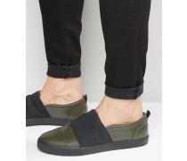 Sneakers zum Einschlüpfen in Khaki mit elastischem Riemen Grün