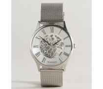 Uhr mit silberfarbenem Netzarmband und sichtbarem Uhrwerk Exklusiv nur bei ASOS Silber