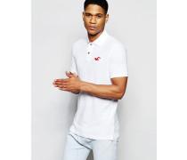 Core Schmal geschnittenes, weißes Polohemd mit farblich abgesetzter Knopfleiste Weiß