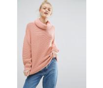 Pullover mit Rollkragen und Ballonärmeln Rosa
