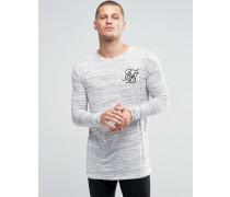Genopptes, langärmliges Shirt mit Schwalbenschwanz-Saum Weiß