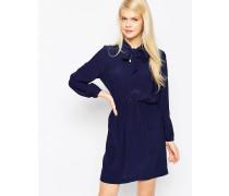 Tailliertes Kleid mit Schluppe Marineblau