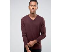 Pullover mit V-Auschnitt in Weinrot Rot