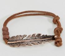 Braunes Armband mit Federdesign Braun