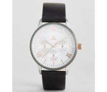 Uhr mit schwarzem Armband und Gehäuse verschiedenen Metallen Schwarz
