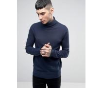 Pullover mit Rollkragen Marineblau