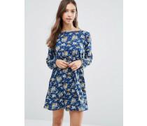 Langärmliges Kleid mit Gürtel mit Blumenmuster Marineblau