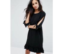 Kleid mit Rüschensaum und Schleifen an den Ärmeln Schwarz