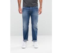 Waykee Gerade geschnittene Jeans in mittlerer Waschung, 858K Blau