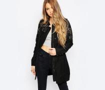 Verzierter Mantel Schwarz
