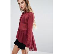 Transparente Bluse mit Schößchen Rot