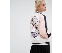 Bomberjacke mit Stickerei auf der Rückseite Rosa