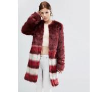 Kunstpelz-Mantel mit Streifendesign Rot