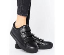 Minimalistischer Sneaker mit drei Riemen Schwarz