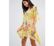 Geblümtes Kimono-Kleid Gelb