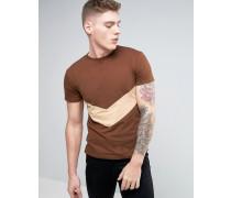 T-Shirt mit spitzem Streifenmuster Braun