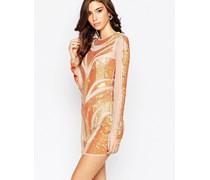 Figurbetontes Kleid mit Netzstoff, Paillettenbesatz und Rückenausschnitt Orange