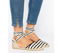 Klassische flache Schuhe mit Knöchelschnürung und Streifenmuster Schwarz