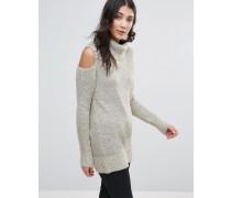 Pullover mit Schulterausschnitt Beige