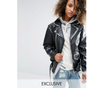 Übergroße Bomberjacke aus Leder mit bemaltem Saum im Vintage-Look Schwarz