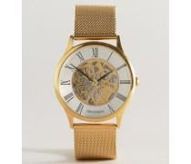 Uhr mit vergoldetem Netzarmband und sichtbarem Uhrwerk Exklusiv nur bei ASOS Gold