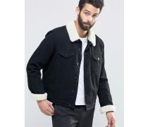 Schwarz verwaschene Jeansjacke mit Kunstfellkragen Schwarz