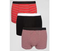 Unterhosen mit Streifen in Rot, 3er-Pack Rot