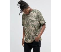 Oversized-T-Shirt mit Rollkragen und Spraypaint-Effekt Grün