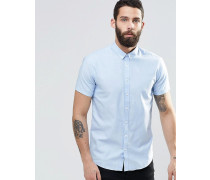 Blaues kurzärmliges Oxfordhemd in schmaler Passform Blau