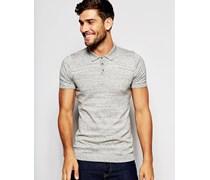 Gestricktes Muskel-Poloshirt aus grauer Slub-Baumwolle Grau