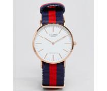 Uhr mit gestreiftem Leinenarmband in Marine/Rot Blau
