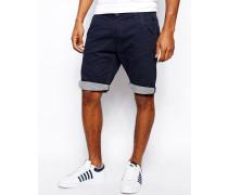 Chino-Shorts mit gestreiftem Beinaufschlag Blau