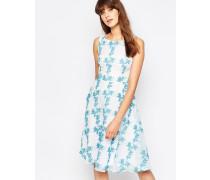 Twirl-Kleid mit Blumenprint Cremeweiß