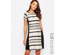 Kleid mit gestreiften Einsätzen Mehrfarbig