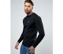 Sweatshirt aus Strick mit kleinem Logo Schwarz
