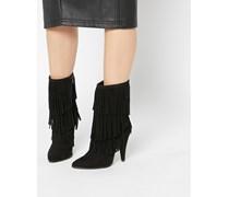 EASY GOING Spitze Ankle-Boots mit Fransen Schwarz