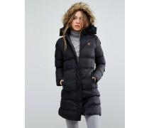 Wattierter Mantel mit Fellbesatz an der Kapuze Schwarz