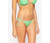 Mix-and-Match Knappe brasilianische Bikinihose mit seitlicher Schnürung und Falten Grün