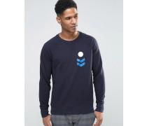 Sweatshirt mit aufgedruckten Aufnähern Marineblau