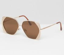 Übergroße Sonnenbrille im Stil der 70er mit eckigem Gestell und Glitzerverzierung am Rand Gold