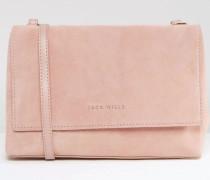 Umhängetasche mit Umschlag aus Wildleder & Leder Rosa
