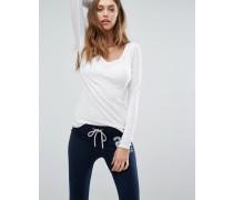 Langärmliges Shirt mit V-Ausschnitt Weiß
