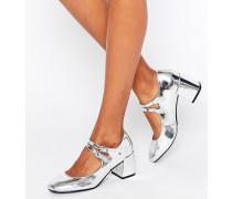 Silberne Mary Jane-Schuhe mit ausgestelltem Absatz Silber